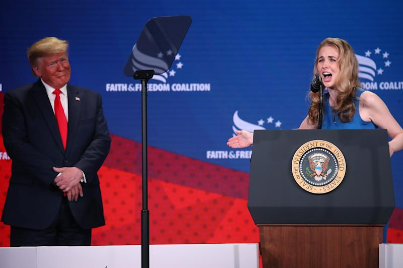 Cancer activist Natalie Harp speaks after being called on stage by U.S. President Donald Trump (Photo by Mark Wilson/Getty Images)