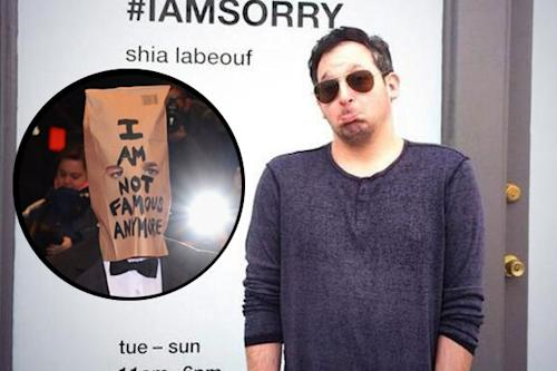 Shia LaBeouf Stays Silent, Bag on Head, During #IAmSorry Performance Art Q&A