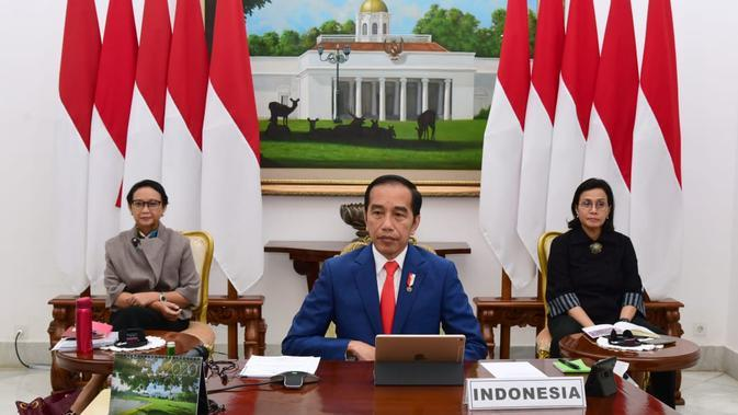 Presiden Jokowi saat menghadiri KTT Luar Biasa G20 secara virtual di Istana Bogor, Jawa Barat. (Biro Pers Sekretariat Presiden)