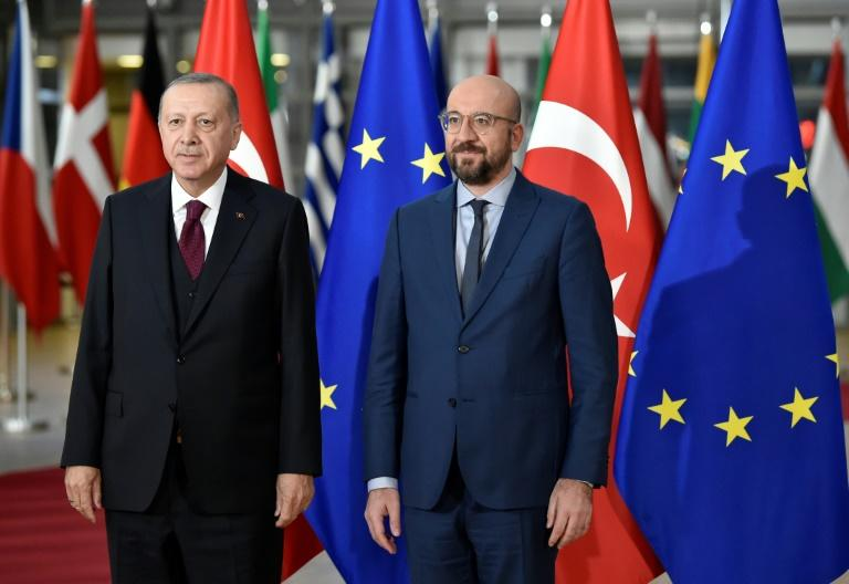 There was no hiding the tension as the president of the European Council Charles Michel (R) met Turkish President Recep Tayyip Erdogan