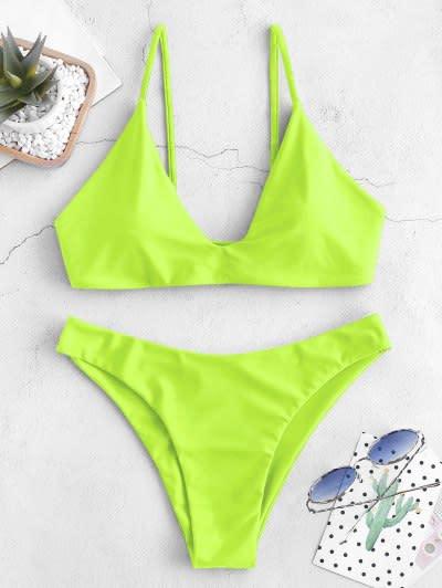ZAFUL Tie Bralette Bikini Set