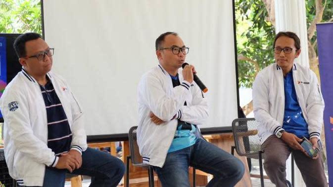 Group Head Technology Strategy & Architecture XL Axiata I Gede Darmayusa menjelaskan mengenai ekspansi jaringan 4G di Sumbawa, NTB, Senin (26/8/2019).
