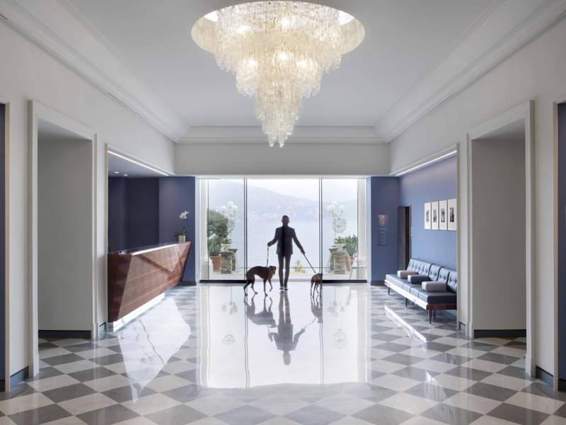 The lobby and its classic black and white marble tile floors. Oh, and fur babies are welcome too.