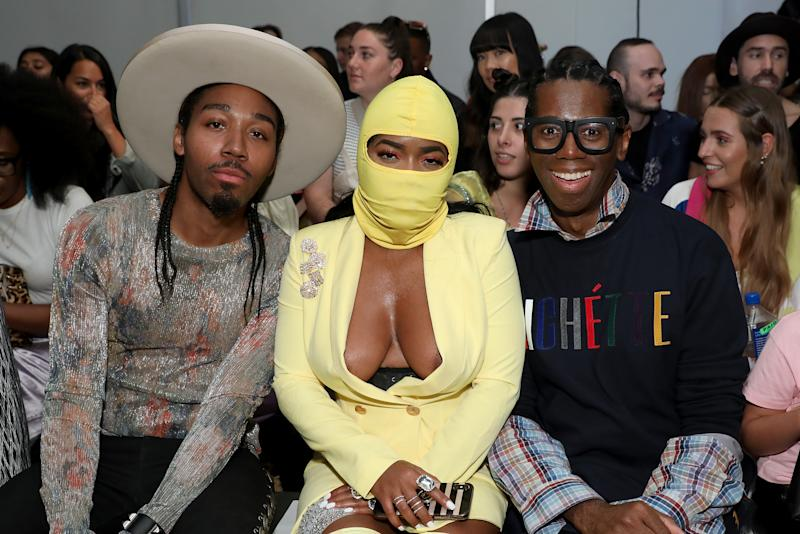Musician Vina Mills (centre) dared to bare at New York Fashion Week. Photo: Getty