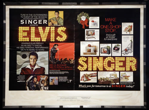 In this Nov. 25, 2013 photo, a 1968 Elvis Presley advertising proof hangs at the Rock and Roll Hall of Fame and Museum in Cleveland. Over 40 items on loan from Graceland will be on display when the Elvis exhibit re-opens. (AP Photo/Mark Duncan)