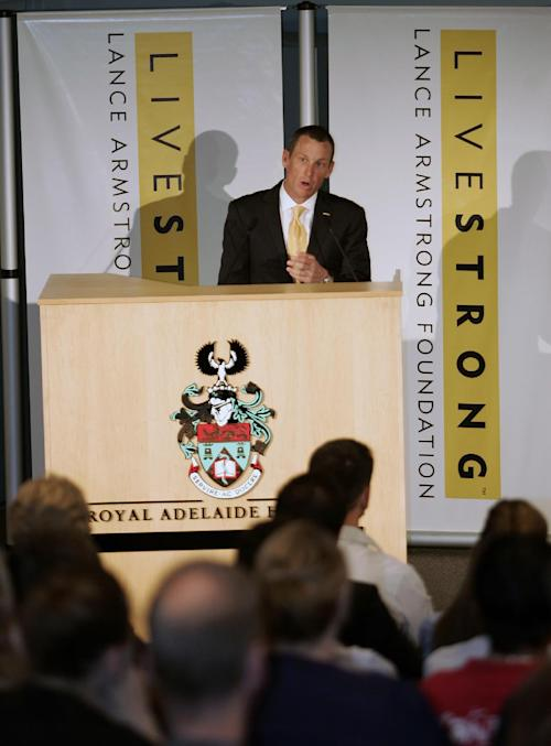 FILE - This Jan. 19, 2009 file photo shows Lance Armstrong speaking during the launch of the Livestrong Global Cancer campaign Royal Adelaide Hospital in Adelaide, Australia. Armstrong said Wednesday, Oct. 17, 2012, he is stepping down as chairman of his Livestrong cancer-fighting charity so the group can focus on its mission instead of its founder's problems. The move came a week after the U.S. Anti-Doping Agency released a massive report detailing allegations of widespread doping by Armstrong and his teams when he won the Tour de France seven consecutive times from 1999 to 2005. (AP Photo/Aman Sharma, File)