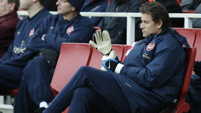 Jens Lehmann masuk daftar kepelatihan baru Arsenal bersama Unai Emery. Jens Lehman di plot sebagai First-team coach. (AFP/Glyn Kirk)