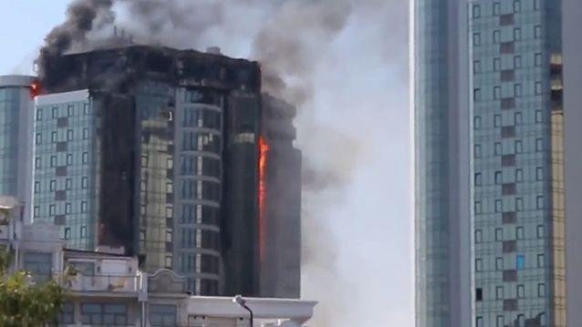 Video shows luxury 22-storey building engulfed by fire