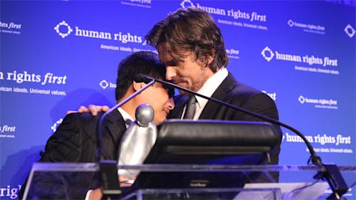 Christian Bale's emotional moment with Chinese activist
