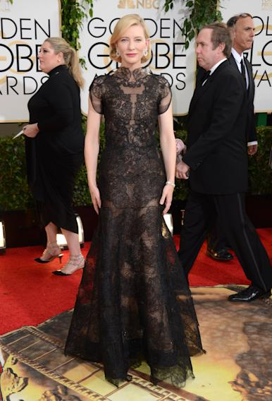 Cate Blanchett arrives at the 71st annual Golden Globe Awards at the Beverly Hilton Hotel on Sunday, Jan. 12, 2014, in Beverly Hills, Calif. (Photo by Jordan Strauss/Invision/AP)
