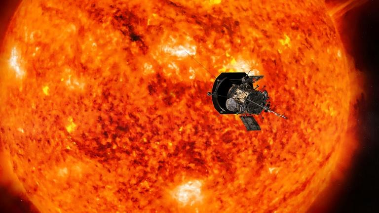 Scientists hail the first data sent back by the Parker Solar Probe, giving them new leads on the solar wind and heating of the corona. Illustration courtesy of NASA/Johns Hopkins APL of the probe and the sun