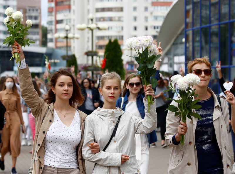 Thousands stage flower protest in Belarus as EU weighs sanctions