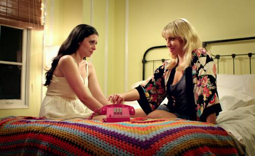 """This film image released by Focus Features shows Lauren Miller as Lauren, left, and Ari Graynor as Katie in a scene from """"For A Good Time, Call."""" (AP Photo/Focus Features, Ryder Sloane)"""