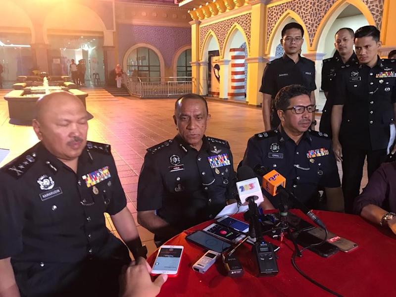 Johor police chief Datuk Mohd Khalil Kader Mohd said the two suspects are believed to be instrumental in the illegal dumping of toxic waste into Kim Kim River in Pasir Gudang. — Picture by Ben Tan