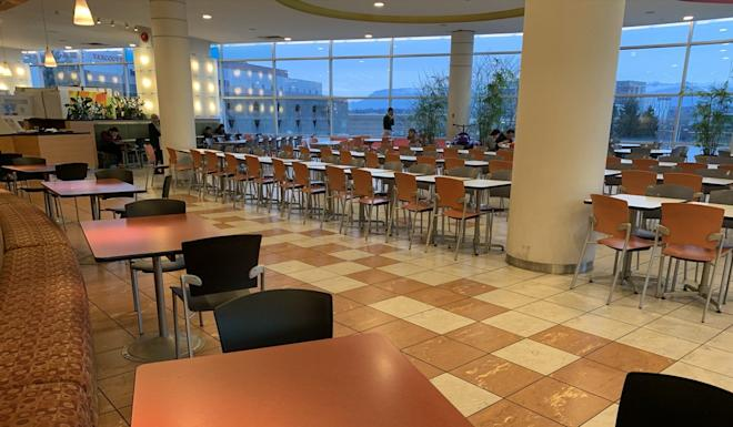 The near-empty food court of the Aberdeen Centre mall in Richmond British Columbia, at 5.30pm on February 22. Before fears about the Covid-19 pandemic, the food court was packed most evenings. Photo: Ian Young