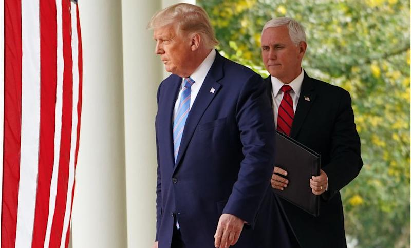 Mr Trump and Mr Pence hold a virus briefing at the White House Rose Garden
