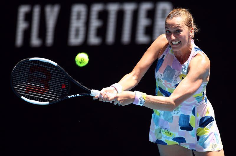 Kvitova fights off Ostapenko to reach Qatar quarters