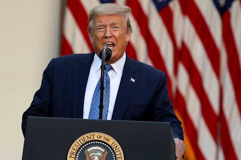 """WASHINGTON, DC - JUNE 01: U.S. President Donald Trump makes a statement to the press in the Rose Garden about restoring """"law and order"""" in the wake of protests at the White House June 01, 2020 in Washington, DC. Earlier in the day, President Donald Trump encouraged U.S. governors to be more aggressive against violent protesters following several nights of nationwide violence in response to the death of George Floyd while in the custody of the Minneapolis police. """"You have to dominate or you'll look like a bunch of jerks, you have to arrest and try people,"""" he was reported saying during a call from the basement White House Situation Room. Minneapolis police officer Derek Chauvin was charged with the third-degree murder of George Floyd, a black man, who died while in police custody in Minneapolis on May 25th. (Photo by Chip Somodevilla/Getty Images)"""