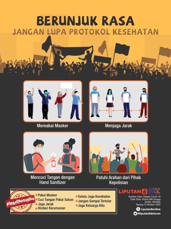 Infografis Berunjuk Rasa, Jangan Lupa Protokol Kesehatan. (Liputan6.com/Abdillah)