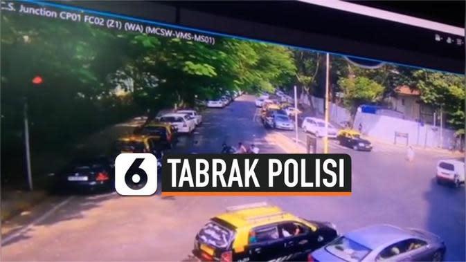 VIDEO: Rekaman Polisi Ditabrak Pengendara Motor Bonceng Tiga