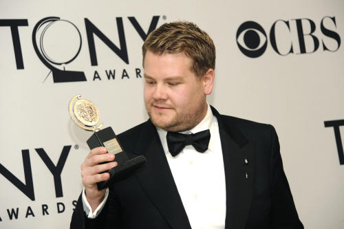 """James Corden holds his award for """"One Man, Two Guvnors"""" at the 66th Annual Tony Awards on Sunday June 10, 2012, in New York. (Photo by Evan Agostini /Invision/AP)"""