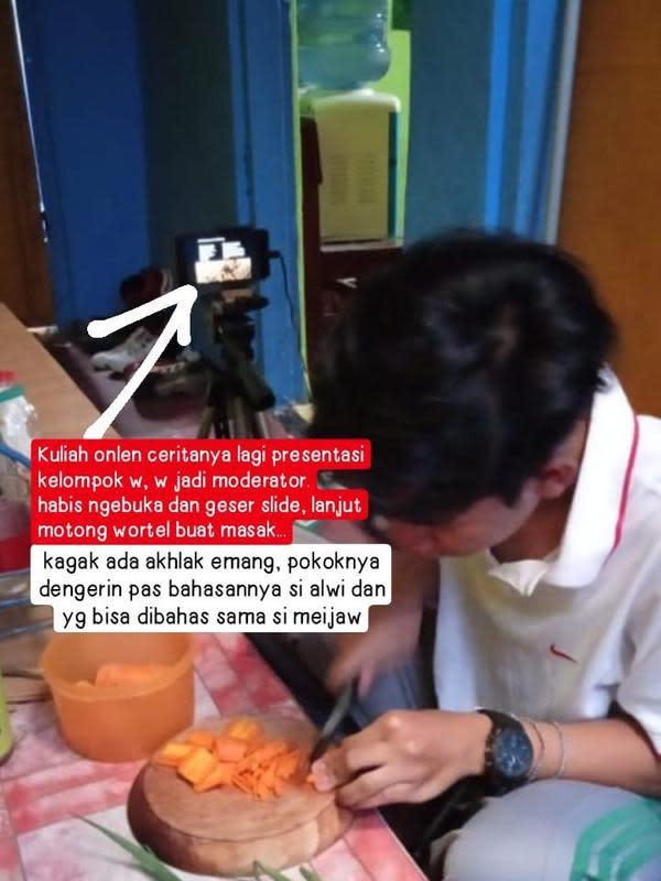 Kocaknya ikut raat online sambil masak ini bikin ketawa geli. (Sumber: Twitter/@cinkomankooo)