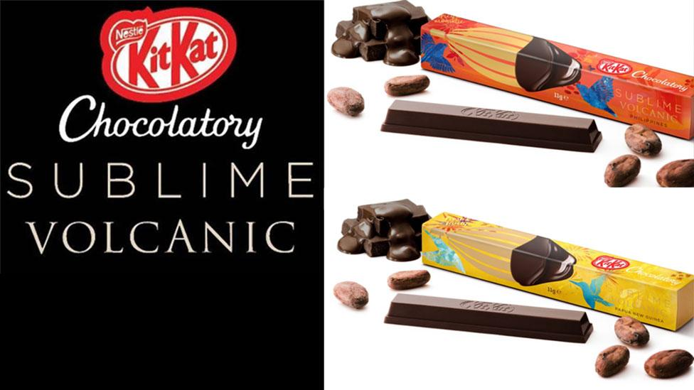 The Sublime Volcanic dark chocolate range features Vanuatu, robustly earthy and bitter, Papua New Guinea, fresh and fruity, and the Philippines, intensely spicy and aromatic notes. Photo: Supplied/Kit Kat