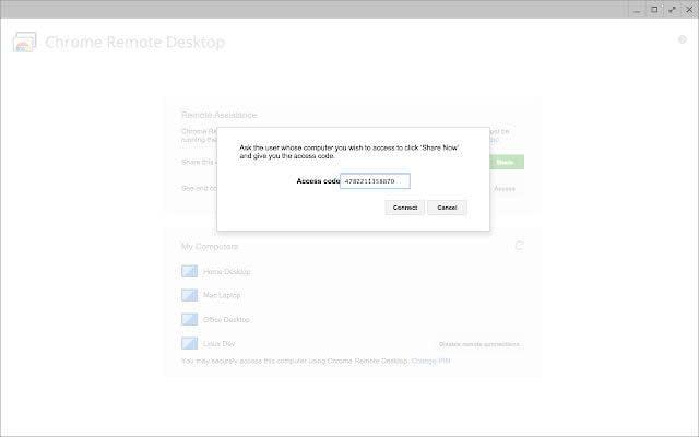 Chrome Remote Desktop Access Code
