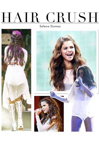 """<p><strong>Selena Gomez</strong>has always had enviable long locks, but her hairstyles during her<em>Stars Dance Tour</em>are on a whole other level. The thickness, the texture — it makes you just want to run your fingers through it ... and ditch that hair straightener for good. But above all else, it's seriously sexy. With her mermaid mane, we almost forgot she got her start on the Disney Channel.</p><p>While not all of us are blessed to be born with thick, luscious hair like Selena, there is one trick we can steal from her. The actress and singer told<a href=""""http://www.seventeen.com/beauty/celebrity/selena-gomez-beauty-tips#slide-4"""" target=""""_blank"""" rel=""""nofollow"""">Seventeen.com</a>she uses <strong>Ted Gibson Hairspray</strong> ($19.95,<a href=""""http://www.beauty.com/ted-gibson-beautiful-hold-hair-spray/qxp158753"""" target=""""_blank"""" rel=""""nofollow"""">beauty.com</a>) and a comb to tease her hair a bit throughout the day. But first, for those lived-in waves, use a 1 ½-inch curling iron for loose waves, add a texturizing spray throughout and brush out with your fingertips. Textured braids are optional.</p><p>Click through to see why we have a serious hair crush on Selena!</p>"""