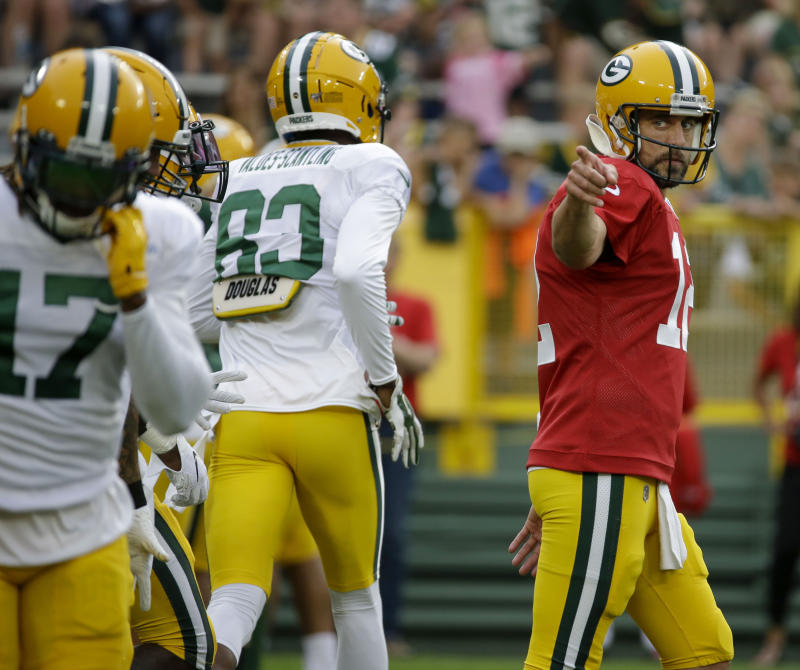 Green Bay Packers quarter Aaron Rodgers during a drill at the NFL football team's Family Night practice Friday, Aug 2, 2019, in Green Bay, Wis. (AP Photo/Mike Roemer)