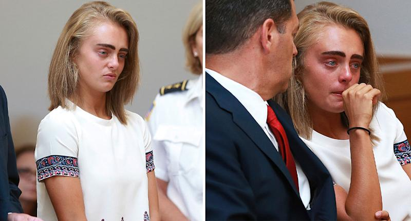 A tearful Michelle Carter sits in a Massachusetts court in 2017 when she was convicted of urging Conrad Roy III to commit suicide.