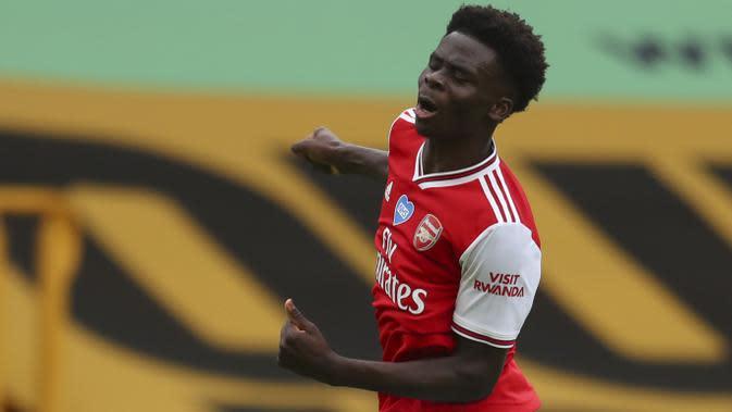 16. Bukayo Saka (Arsenal) - Penyerang berusia 19 tahun ini memiliki permainan yang menawan dan talenta yang luar biasa di lapangan. Bukayo Saka sendiri disebut-sebut sebagai calon bintang Arsenal. (AFP/Catherine Ivill/pool)