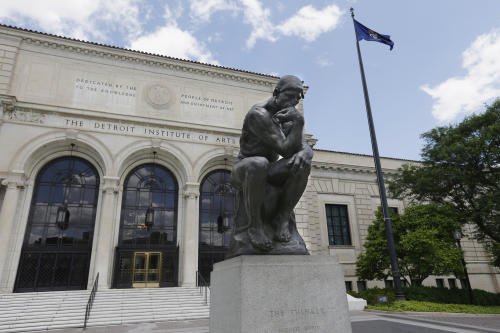 FILE - In a June 13, 2013 file photo, The Thinker, by Rodin, is displayed outside the Detroit Institute of Arts in Detroit. As part of the city's Chapter 9 bankruptcy filing, city emergency manager Kevyn Orr said Monday, Aug. 5, 2013, that he has asked the Christie's auction house to appraise the museum's collection, raising the possibility it could be put up for sale. (AP Photo/Carlos Osorio, File)