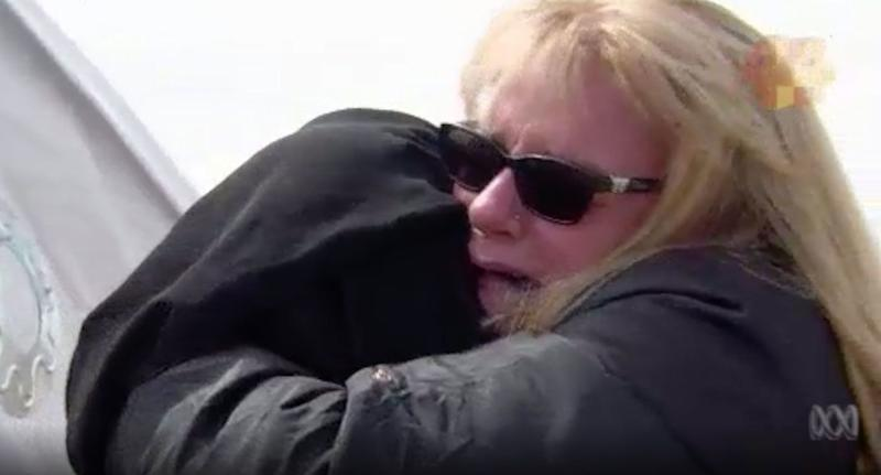 Karen Nettleton hugs her granddaughter Hoda, 16, at the al-Hawl camp in northern Syria. Hoda is the daughter of Australian Islamic State terrorist Khaled Sharrouf. Source: Four Corners/ ABC