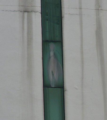 "An image said to be the Virgin Mary appears on the window of a Malaysian hospital in Subang outside Kuala Lumpur on November 11, 2012. ""We believe Mary, mother of God, has a message for us, as she is looking down on us and then at a Malaysian flag. We can also see Jesus and he is also moving, they are not static,"" Eunice Fernandez, who lives nearby, told AFP"