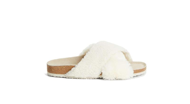 Cross Strap Faux Fur Mule Slippers