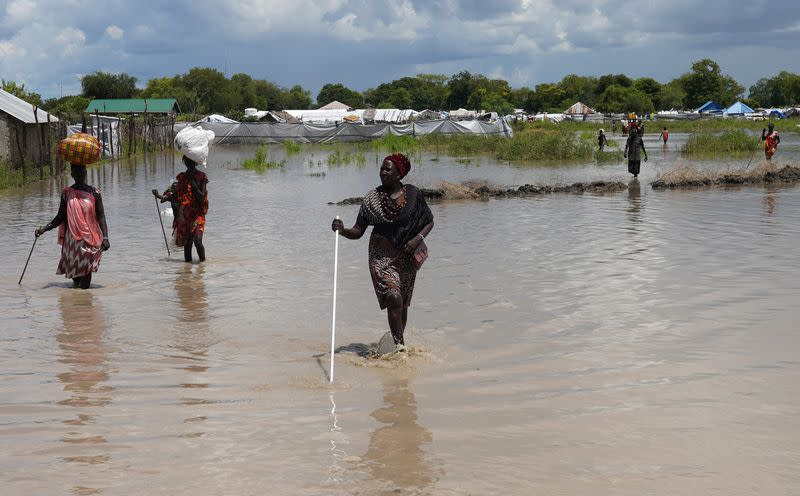 South Sudan families displaced by fighting forced out again by floods
