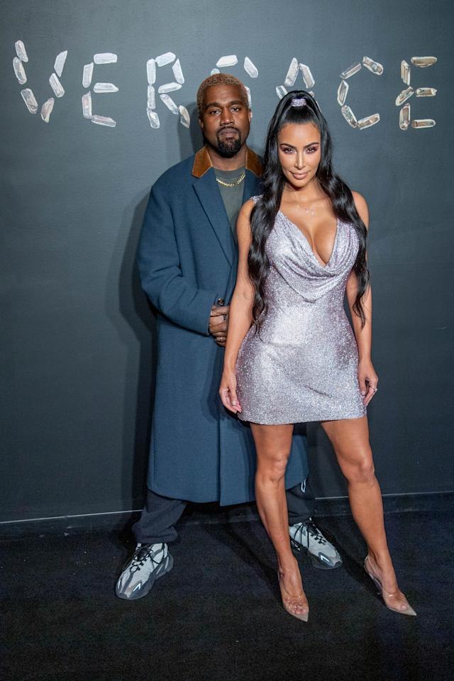 <p>She made a rare public appearance with hubby Kanye West for the Versace Pre-Fall 2019 Collection event. Photo: Getty </p>