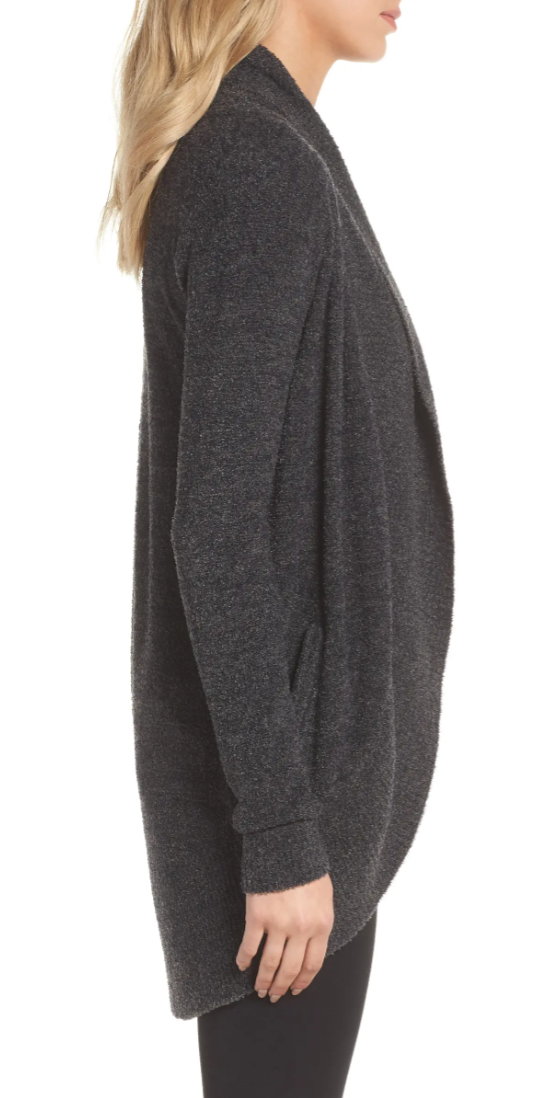 Barefoot Dreams Women's CozyChic Lite Circle Cardigan in Carbon/Black Heather
