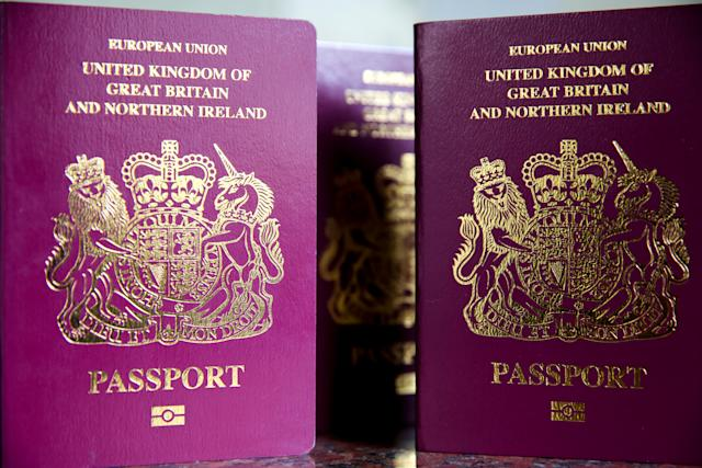 LONDON, UK, UNITED KINGDOM - 2019/03/07: British Passports are seen as according to consumer group Which over three millions British travellers could be banned from entering several European countries unless they renew their passports by Friday,8 March 2019 in the event of a no-deal Brexit. (Photo by Dinendra Haria/SOPA Images/LightRocket via Getty Images)