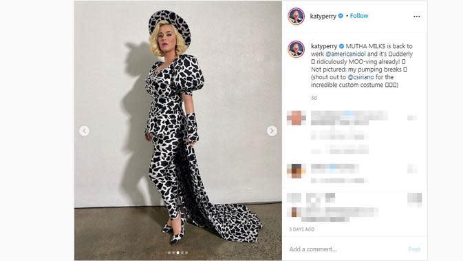 Tampilan nyentrik Katy Perry yang kembali menjadi sorotan. (Screenshot Instagram @katyperry/https://www.instagram.com/p/CGGw1Uohbdp/)