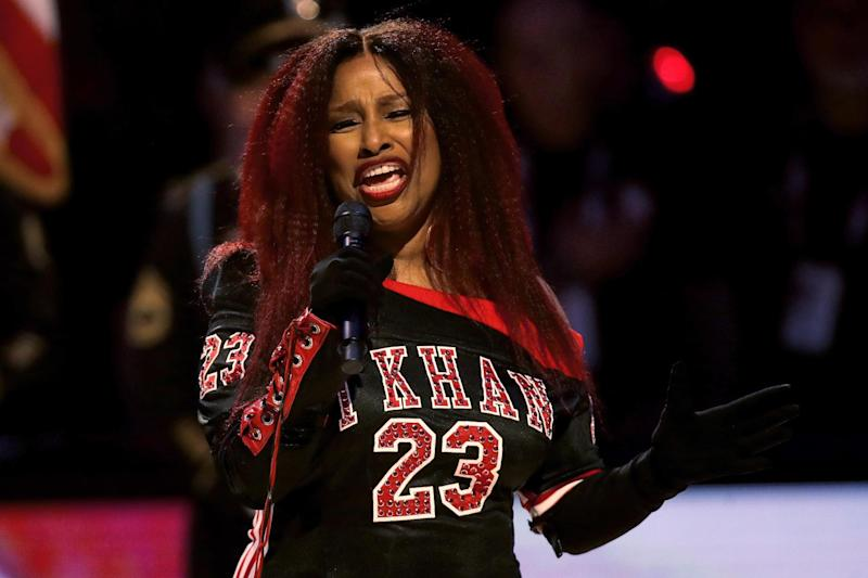Chaka Khan sings the US national anthem before an NBA all-star game on 16 February 2020 in Chicago, Illinois: Jonathan Daniel/Getty Images