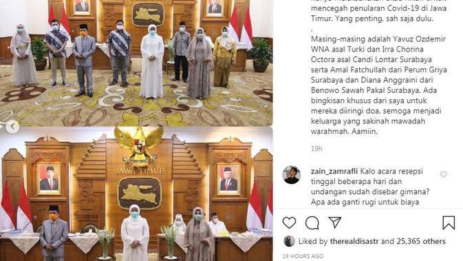 Khofifah Indar Parawansa mengundang secara khusus kepada dua pasangan pengantin yang menunda resepsi pernikahan mereka (Dok.Instagram/@khofifah.ip/https://www.instagram.com/p/B-JuuKKgAbO/Komarudin)
