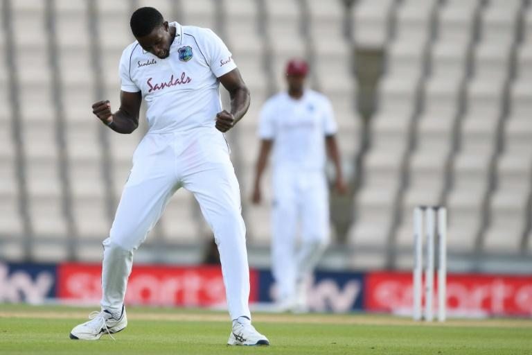 West Indies captain  Jason Holder celebrates dismissing England skipper Ben Stokes on the fourth day of the first Test at Southampton