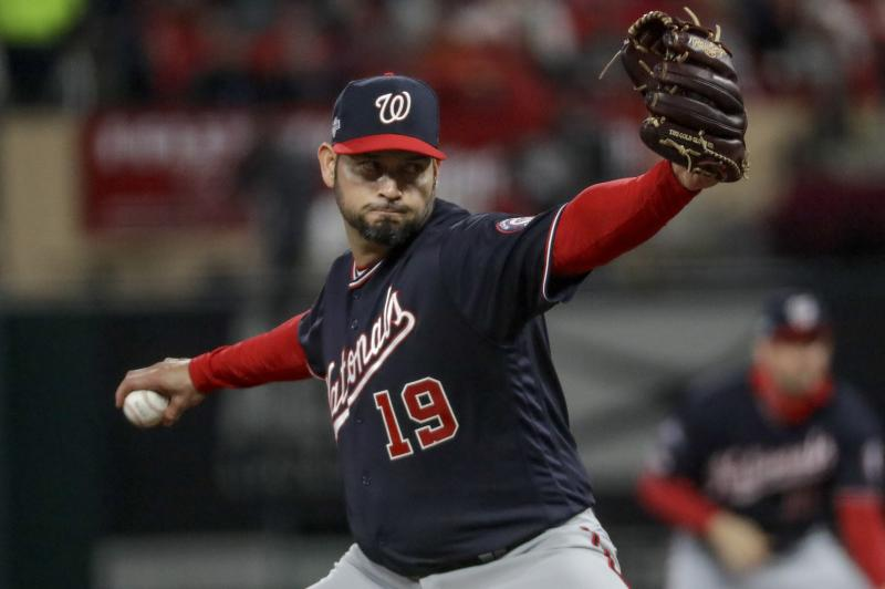Washington Nationals starting pitcher Anibal Sanchez throws during the fifth inning of Game 1 of the baseball National League Championship Series against the St. Louis Cardinals Friday, Oct. 11, 2019, in St. Louis. (AP Photo/Mark Humphrey)