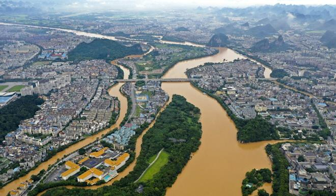 An aerial photo of Guilin City taken on June 9 shows the Lijiang River in flood after continuous torrential rain. Photo: Xinhua
