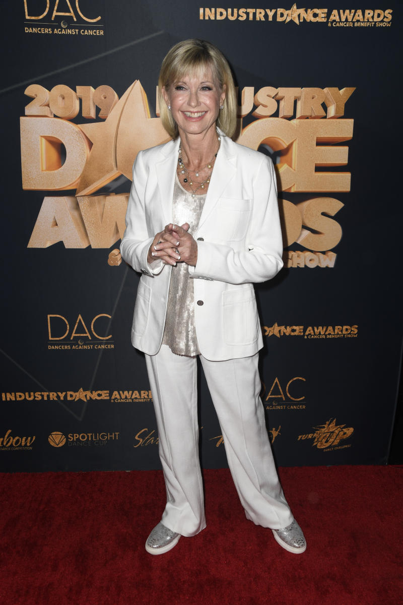 LOS ANGELES, CALIFORNIA - AUGUST 14: Olivia Newton-John attends the 2019 Industry Dance Awards at Avalon Hollywood on August 14, 2019 in Los Angeles, California. (Photo by Frazer Harrison/Getty Images)
