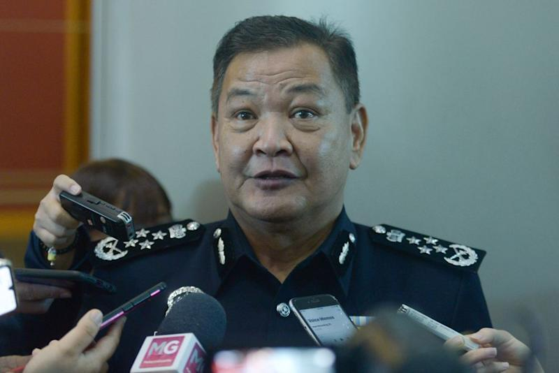 Inspector-General of Police Tan Sri Abdul Hamid Bador addresses members of the press at the Putrajaya International Convention Centre July 7, 2020. — Picture by Miera Zulyana