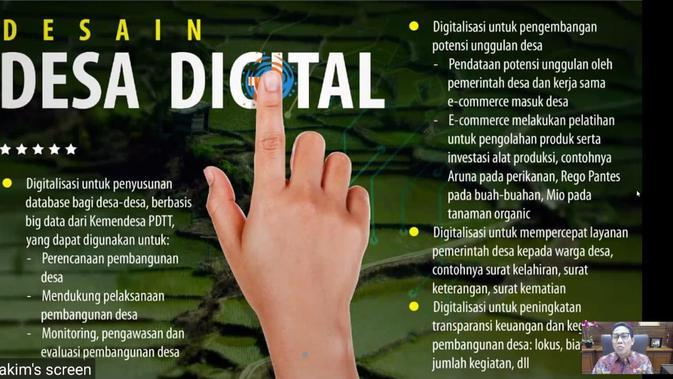 Tangkapan layar Desain Desa Digital (Kementerian Desa/ZOOM)