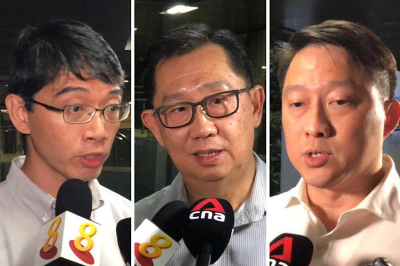 (L-R) Lakeview estate resident Kelvin Tan, conservationist Joseph Koh and Senior Minister of State for Transport and Health Lam Pin Min. PHOTO: Nicholas Yong/Yahoo News Singapore
